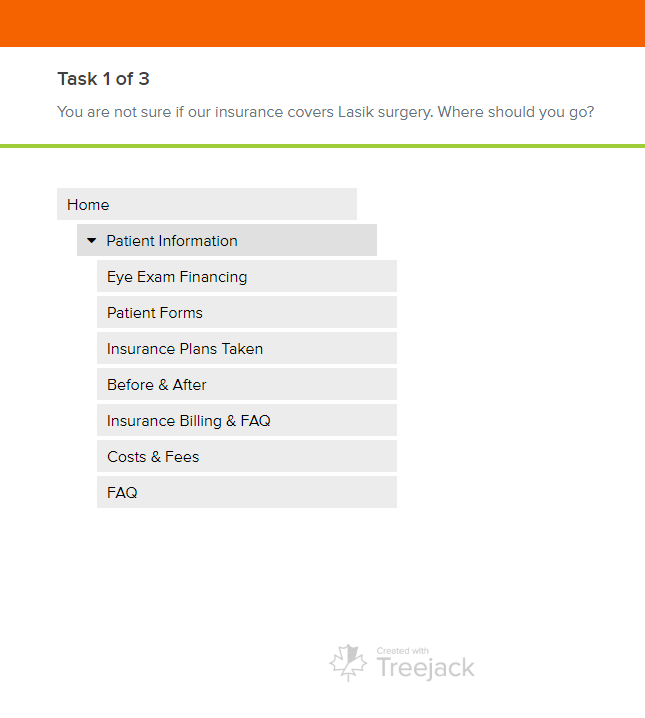 Tree Testing screenshot